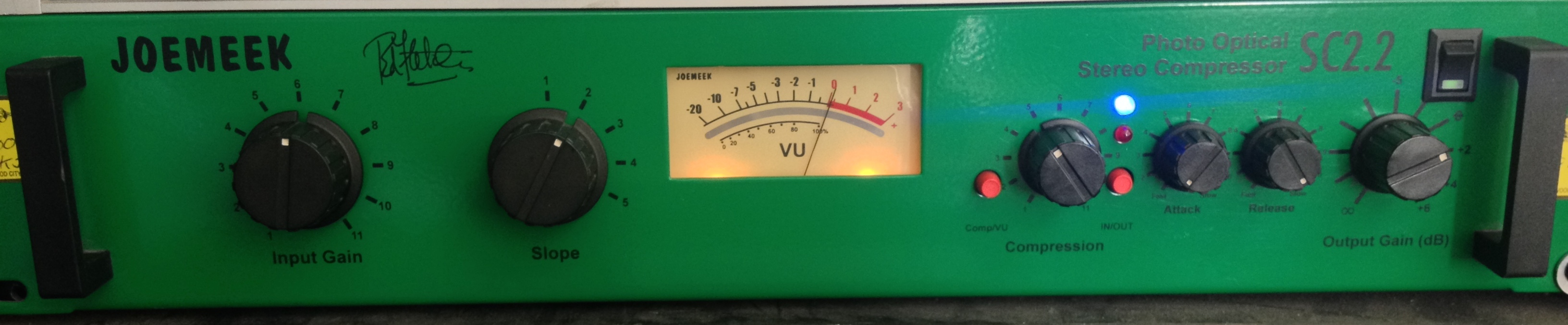 Joe Meek Stereo Compressor.  Recent addition to the Cave.